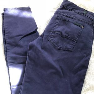 7 for all mankind blue colored skinny jeans